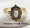 Antique Goldtone/Faux Pearl Ring - EMMONS