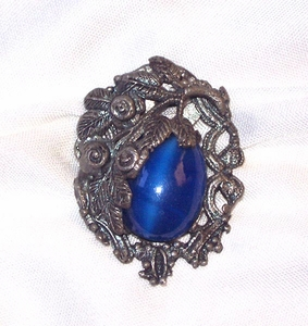 Antique Silvertone/Blue Cabochon Dress Clip