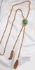 AVON Goldtone/Green Lariat Necklace