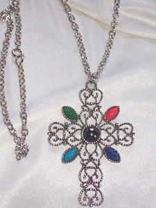 AVON Silvertone Cross with Colored Insets