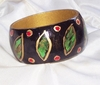 Black LEAF DESIGN Handpainted Bracelet
