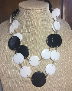 Black & White Huge Disk Necklace