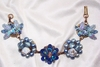 Blue Crystal Upcycled Cluster Bracelet