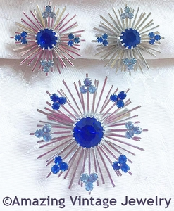 BLUE SNOWFLAKE Pin & Earrings Set