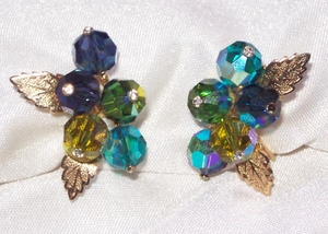 Blue, Turq, Olive Green Glass Earrings