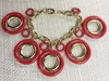 Bracelet with Red & Goldtone Circles