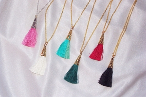 Cotton Tassel Necklaces on Chains