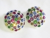 Cream Plastic Dome Clip Earrings w/Pastel Rhinestones