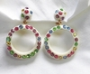 Cream Plastic Hoop Earrings w/Pastel Rhinestones