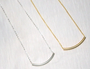 CURVED BAR Necklaces:  Your Choice Silver or Gold
