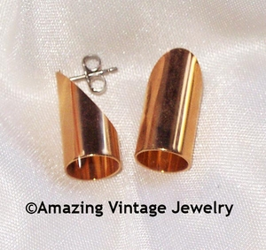CYLINDER Earrings - Goldtone