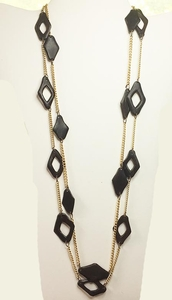 Double Strand Boho Black Geometric Necklaces