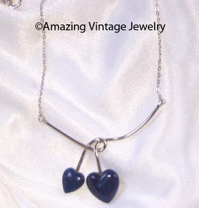 DUO HEART Necklace - Silvertone/Blue