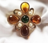 EMMONS Goldtone/Faux Pearl/Topaz/Green Pin