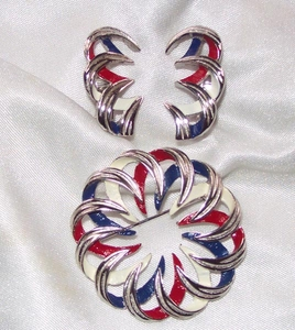 EMMONS Red White and Blue Pin & Earrings Set