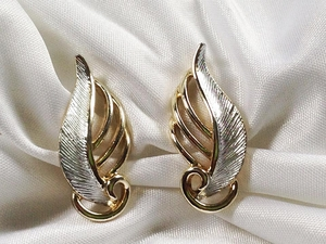 Emmons Silvertone/Goldtone Leaf Earrings