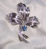 EMMONS - Silvertone Pin with Blue Rhinestone