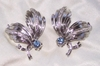 EMMONS - Silvertone with Blue Rhinestone Earrings