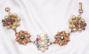 Faux Pearl & AB Upcycled Vintage Cluster Bracelet