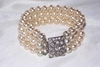 Faux Pearl Bracelet with Rhinestone Clasp
