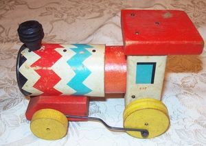 FISHER PRICE Whistling Engine  1958