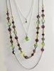 Four Strand GLASS BEADS Layered Necklace - Green, Brown