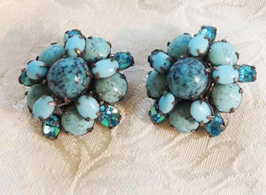 Glass Turquoise Stone/Rhinestone Cluster Earrings