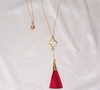 Gold Clover/Cotton Tassel Necklace - Choose your color