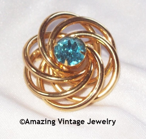 Gold Swirls Pin w/Aqua Blue Rhinestone