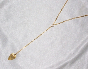 Gold Y Necklace with Teardrop Leaf Pendant
