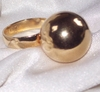 Goldtone 3-D Ball Ring