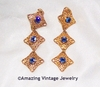 UNIDENTIFIED Goldtone/Blue Cab Earrings
