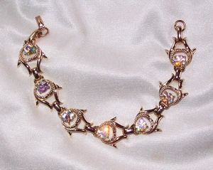 Goldtone Links Bracelet w/AB Stones