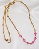 Goldtone Necklace w/Pink Glass Beads