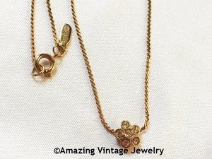 Goldtone Necklace with Rhinestone Flower Pendant