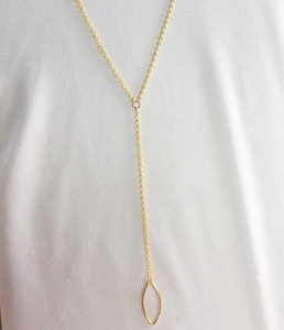 Goldtone Y Necklace w/Oblong Pendant