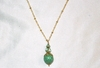 Green CZECH GLASS Pendant Necklace on 14k Gold Filled Satellite Chain