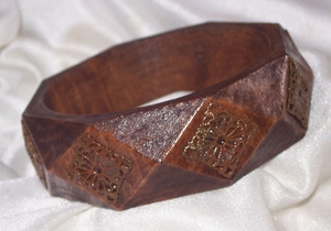 Handcrafted Dark Wooden Bangle with Oxided Metal Design