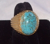 Huge Ribbed Goldtone Ring w/Turquoise Inset