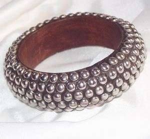 Huge Silver Studded Bangle Bracelet