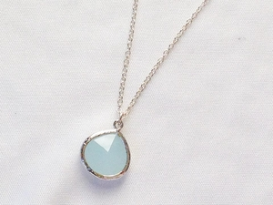 Ice Blue Glass/Silver Pendant Necklace
