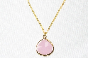 Ice Pink Gold Framed Pendant Necklace