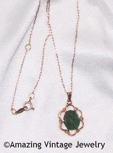 Jade and Goldtone Pendant Necklace