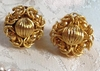 JAPAN Bright Goldtone Cluster Earrings