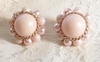 JAPAN Pale Pink Satin/Faux Pearl Bead Earrings