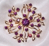 Large Goldtone Pin with Purple Rhinestones