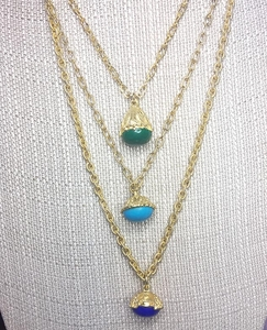 Large Heavy 3 Strand Necklace with Jewel Colors