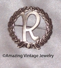 LAUREL WREATH INITIAL Pin - R