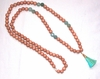 Light Wood Beads Necklace with Turquoise Tassel