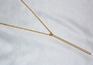 Long Vertical Bar Necklace - 14k Gold Filled chain